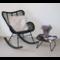 Sweet Living Zwarte Rotan Schommelstoel Vlinder - 75x100xH95 cm