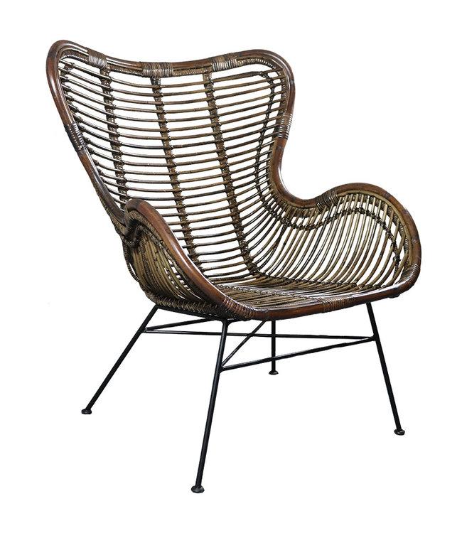 Sweet Living Bruine Rotan Vlinderstoel - 70x76xH90 cm