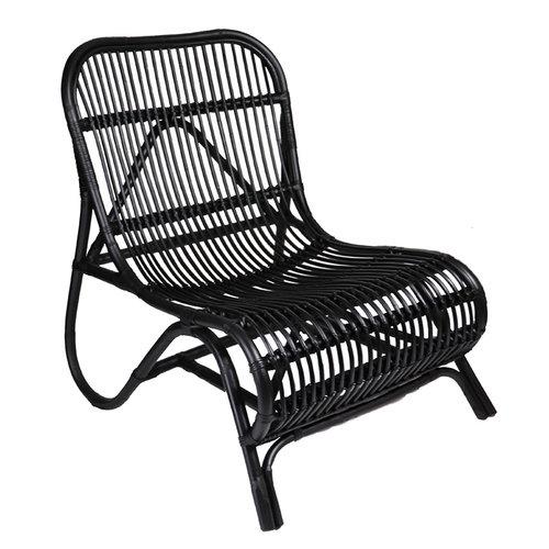 Sweet Living Zwarte Rotan Loungestoel - 65x71x78 cm