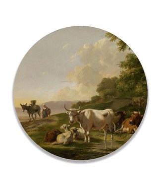 Sweet Living Wandcirkel Landschap met vee