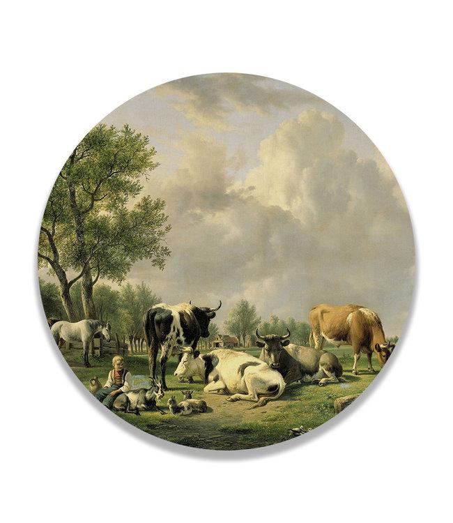 Sweet Living Wandcirkel Weide met vee