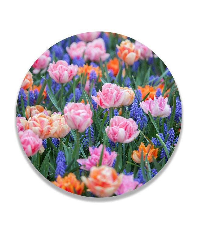 Sweet Living Wandcirkel Vrolijke Voorjaarsbloemen