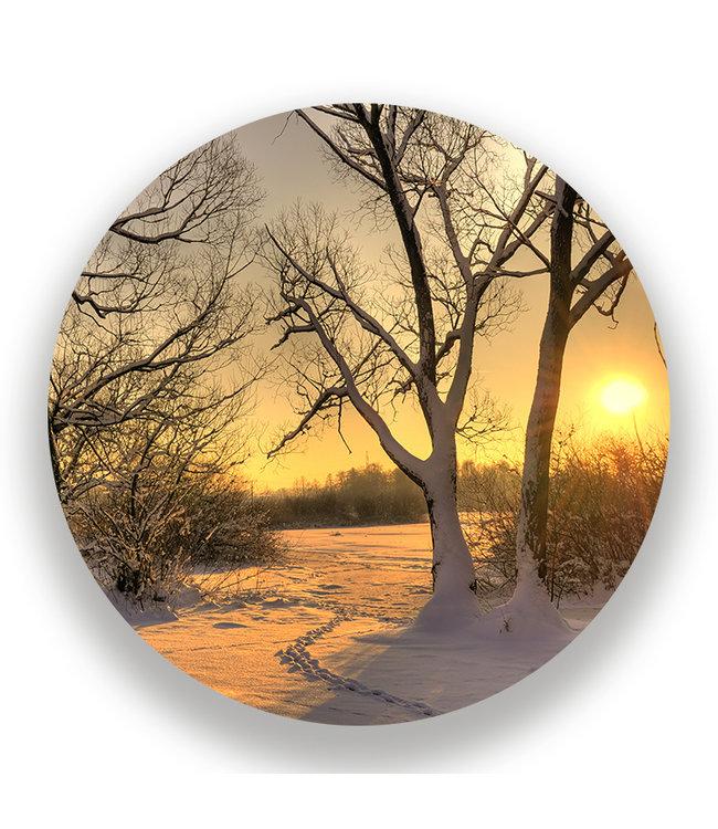 Sweet Living Wandcirkel Winterse Zonsondergang