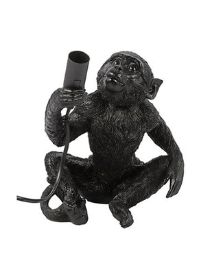 Sweet Living Zwarte Tafellamp Monkey - 20x21xH23 cm