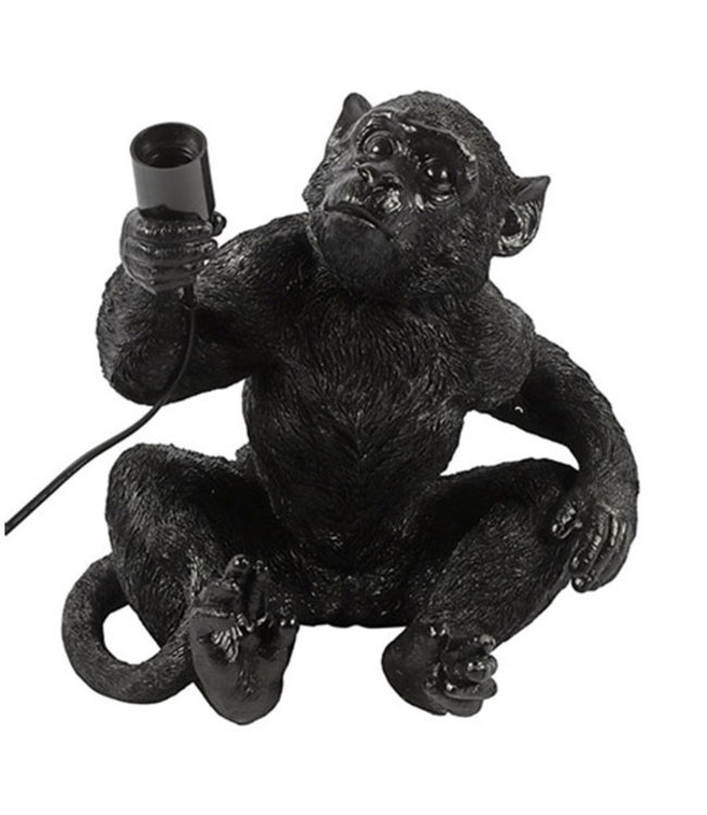 Sweet Living Zwarte Tafellamp Monkey - 31x33xH37,5 cm