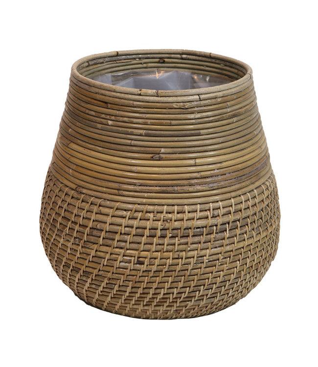 Sweet Living Bamboe Plantenmand Greywash - Ø40xH33 cm