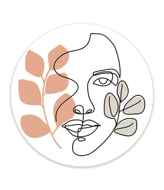 Sweet Living Wandcirkel Abstract Face with Leaves