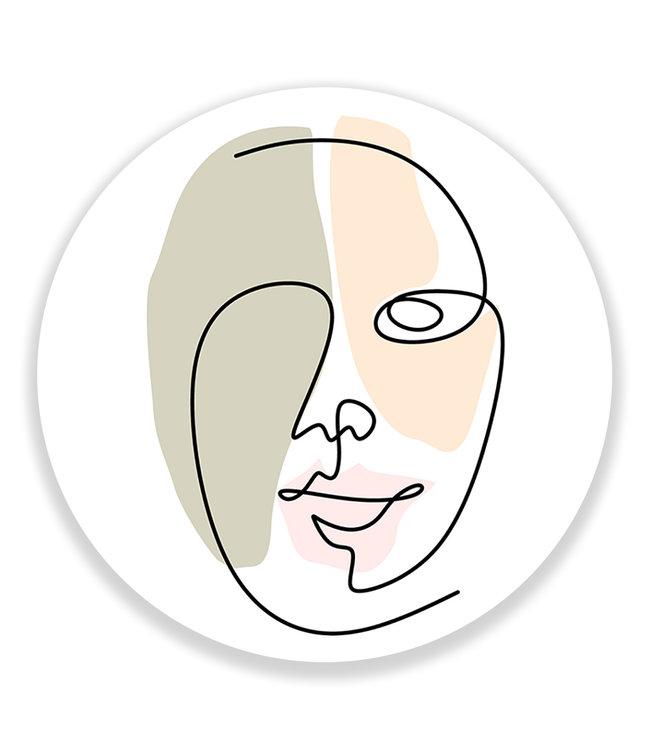 Sweet Living Wandcirkel Single Line Face Abstract