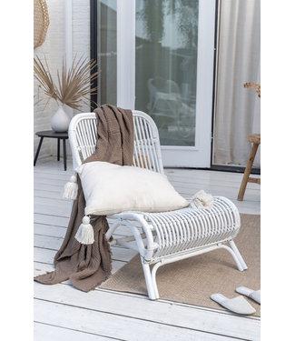 Sweet Living Witte Rotan Loungestoel - 59x78xH77 cm