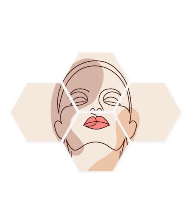 Sweet Living Hexagon Line-Art-Face - 40xH50 cm