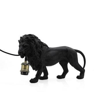 Sweet Living Zwarte Leeuw Tafellamp - 45,5x14,5xH26 cm
