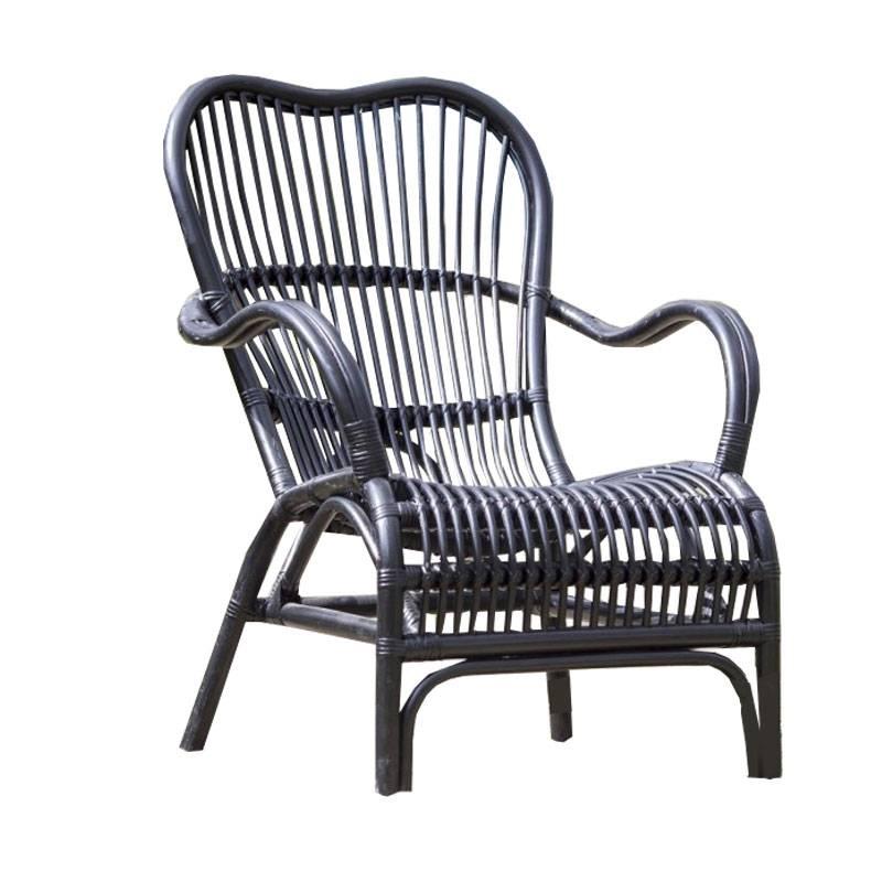 Landelijke Lounge Stoel.Zwarte Rotan Loungestoel 67x80xh86 Cm Sweet Living Shop