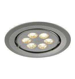 TRITON 6 GIMBLE, inbouwspot, rond, zilver geanodiseerd, 6x 1W LED warmwit, richtbaar