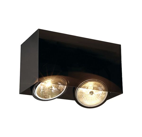 ACRYLBOX DOUBLE QRB111, plafond armatuur, rechthoekig, zwart/translucent, max. 2x