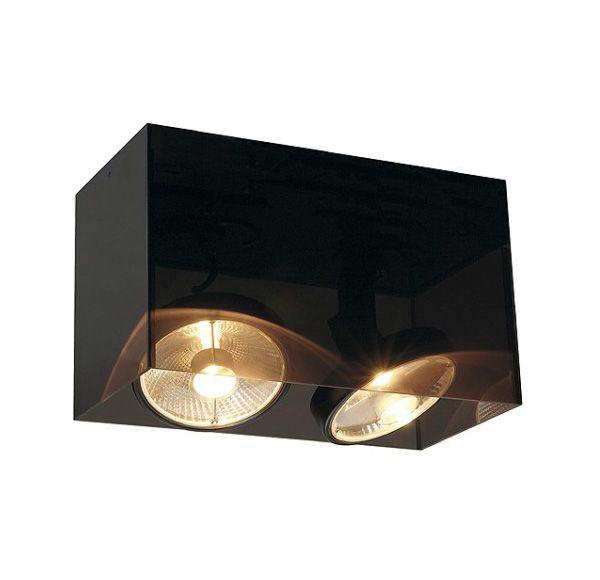 ACRYLBOX DOUBLE ES111, plafond armatuur, rechthoekig, zwart/translucent, max. 2x 75W