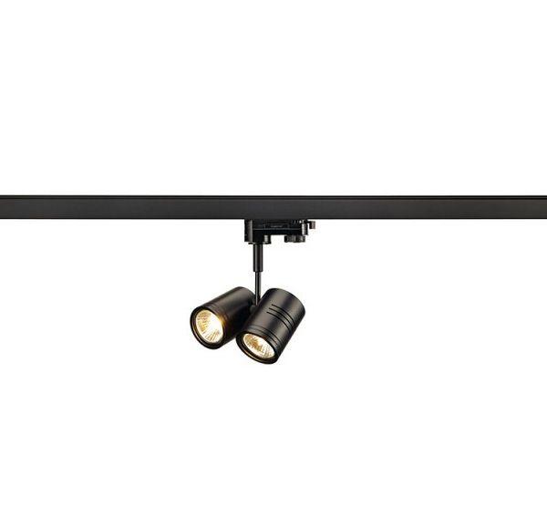BIMA II lampekop, zwart, 2x GU10, max. 50W, incl. 3-fase adapter