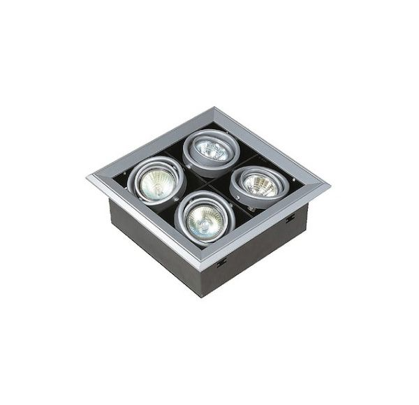 AIXLIGHT MOD 4 MR16, inbouw armatuur, zilvergrijs GU5,3, max. 50W, richtbaar