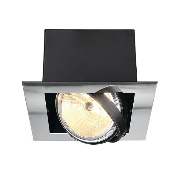 AIXLIGHT FLAT SINGLE QRB111, inbouw armatuur, chroom / mat zwart, max. 50W