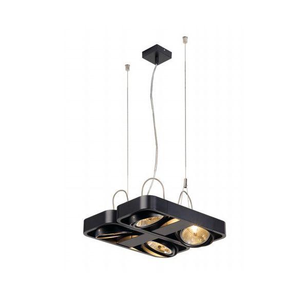 AIXLIGHT R2 SQUARE QRB111, pendel lamp, half rond, zwart, 4xG53, max. 4x50W