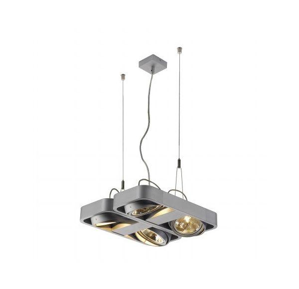 AIXLIGHT R2 SQUARE QRB111, pendel lamp, half rond, zilvergrijs, 4xG53, max. 4x50W