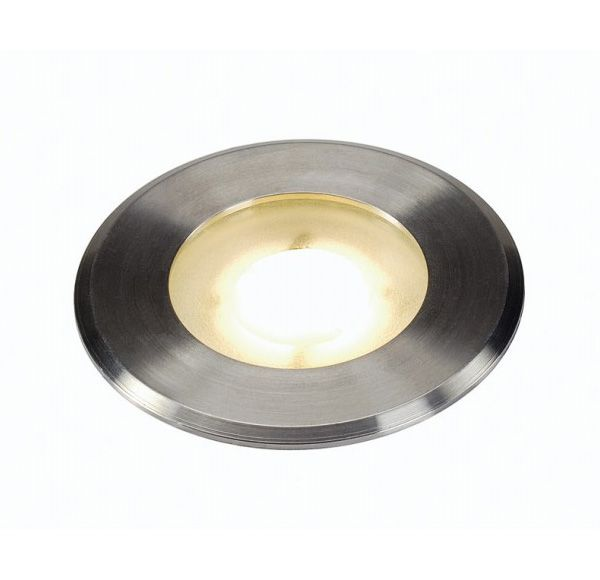 DASAR FLAT 230V LED, inbouw grondspot, rond, 4,3W LED, warmwit, inox cover