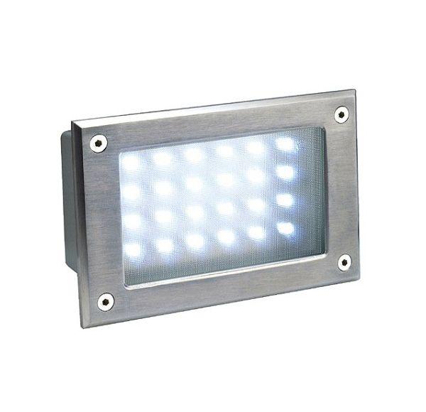 BRICK LED 24, inox 304 wand armatuur, geborsteld, wit, IP54