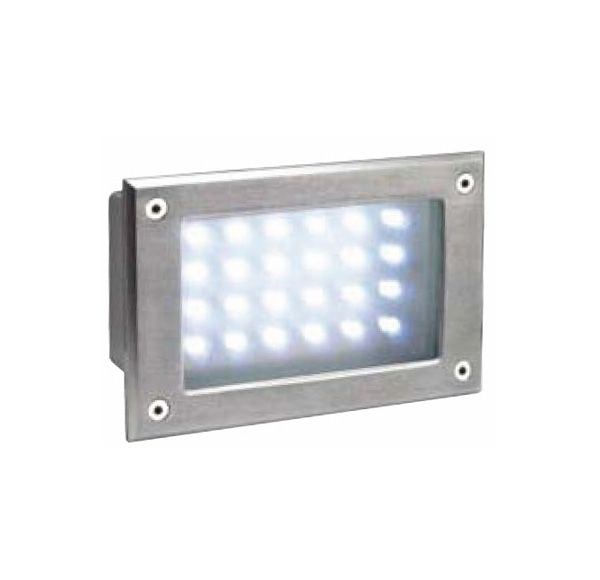 BRICK LED 24, inox 304 wand armatuur, geborsteld, warmwit, IP54