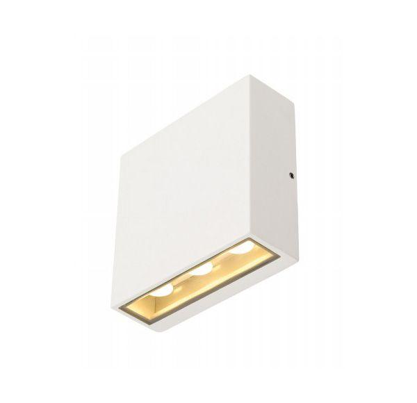 BIG QUAD wandlamp, vierkant, wit, 6x 1W LED, warm wit