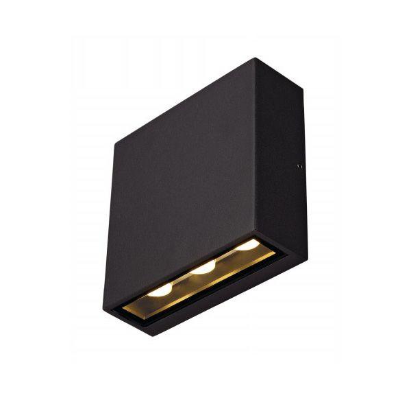 BIG QUAD wandlamp, vierkant, antraciet, 6x 1W LED, warm wit
