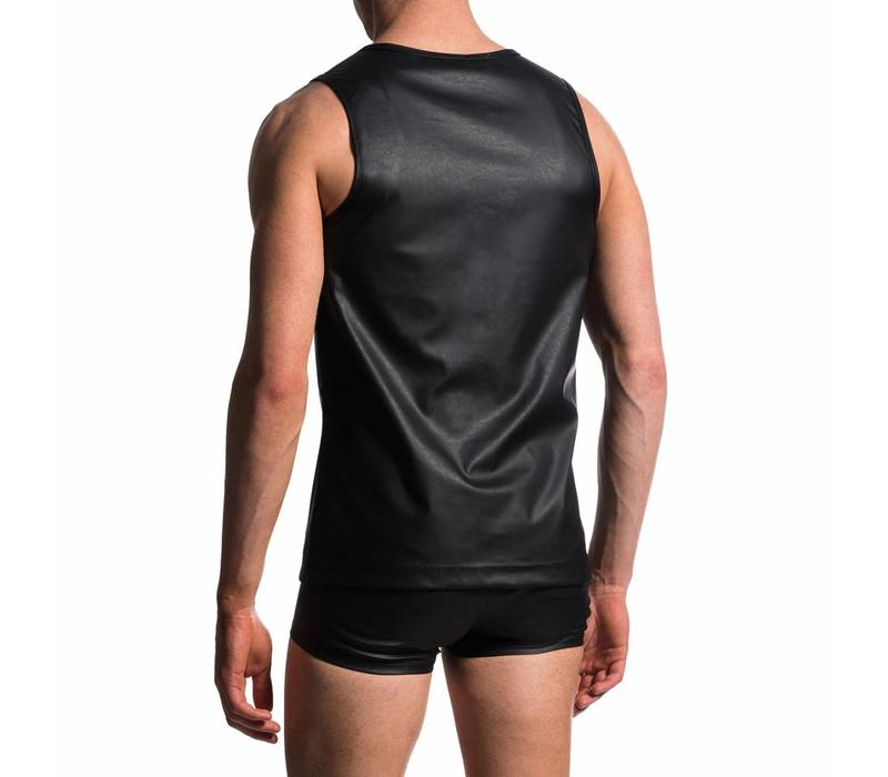 Slim Tank Leder-Look <zwart>