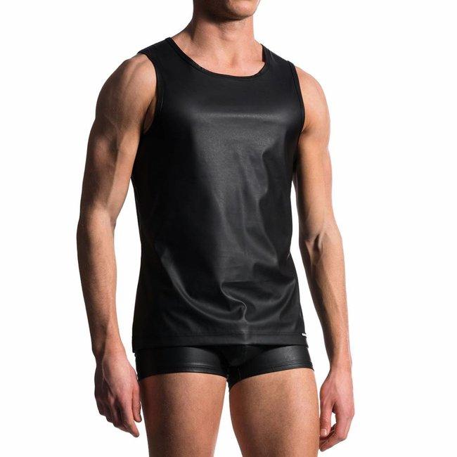 Manstore Slim Tank Leather Look <black> ·M104·