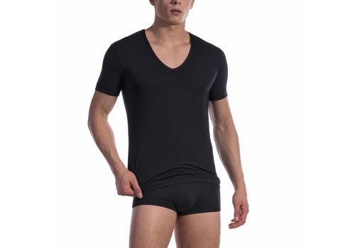 Olaf Benz  Shirt met diepe V-hals katoen classic <zwart> - Olaf Benz 1601*