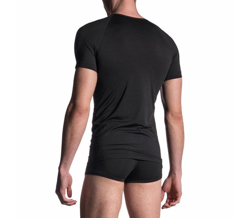 V-shirt microfiber <zwart>
