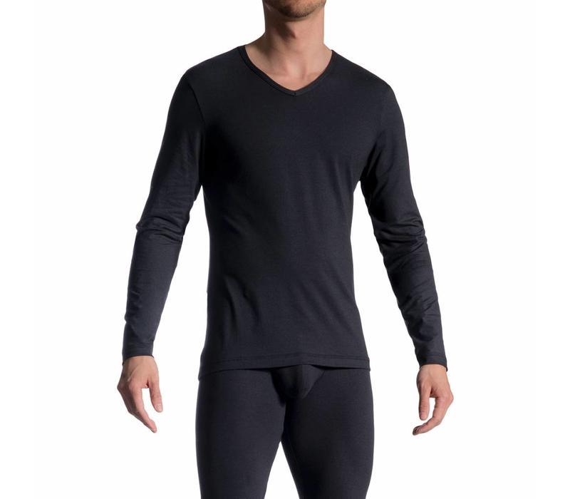 Shirt met lange mouwen (katoen) <zwart>