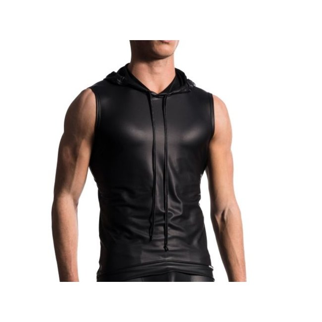 Manstore Hoody Tank Soft Leder-Look <zwart> ·M510·
