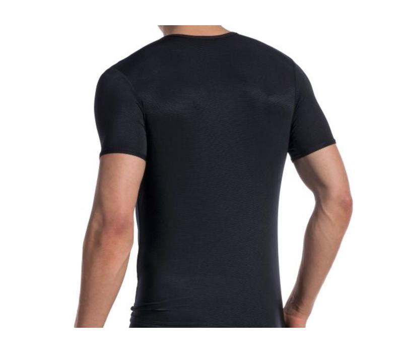 T-shirt (doorzichtige lijntjes) <zwart>