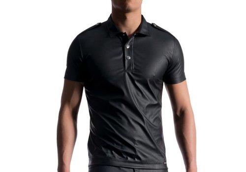 Manstore Polo Shirt Leder Look <zwart> - Manstore M104