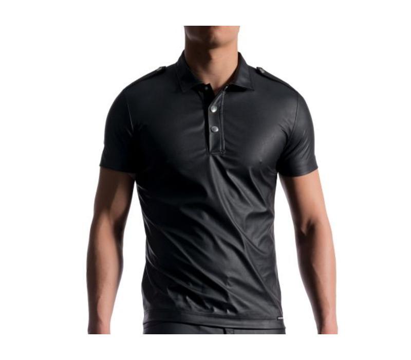 Polo Shirt Leder Look <zwart>