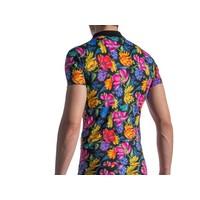 Polo Shirt <zwart/bloemen>