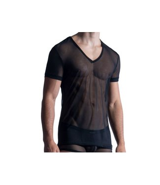 Manstore Shirt met diepe V-hals (doorzichtig) <zwart> - Manstore M850