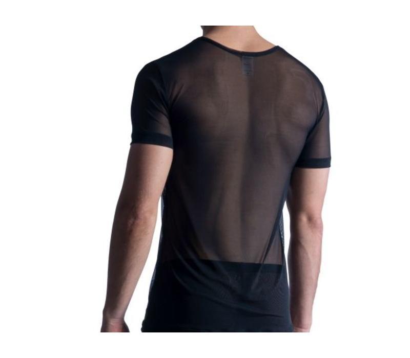 Shirt met diepe V-hals (doorzichtig) <zwart>