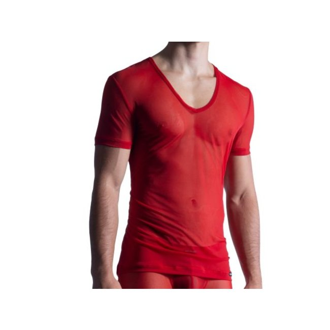 Manstore Shirt met diepe V-hals (doorzichtig) <rood> - Manstore M850