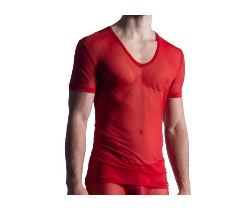 Shirt met diepe V-hals (doorzichtig) <rood>