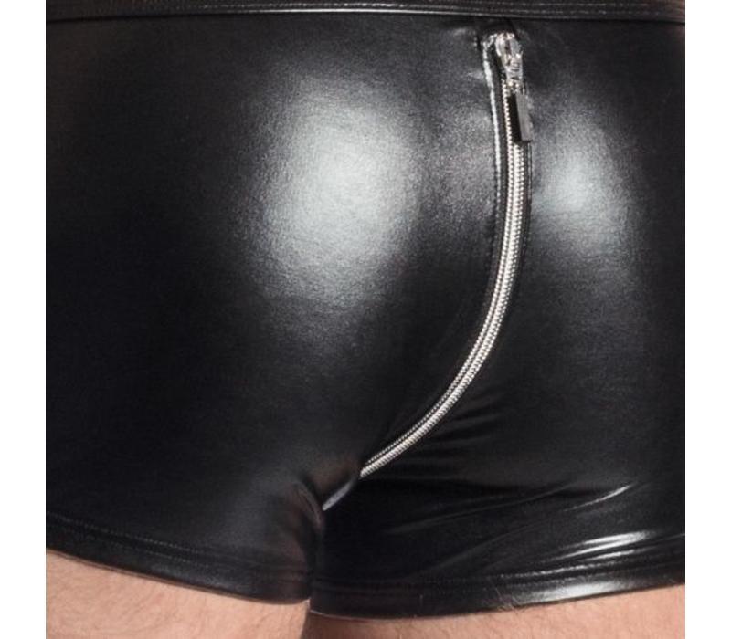 Wet Look Boxer met rits <zwart>