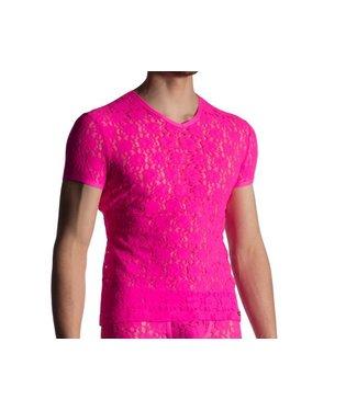 Manstore Shirt met V-hals in kant <hotpink> - Manstore M853