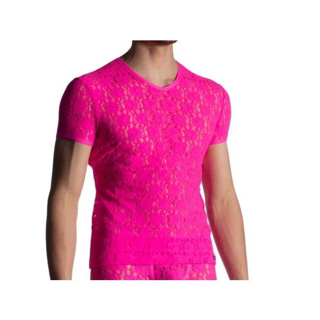 Manstore Shirt met V-hals in kant <hotpink> ·M853·