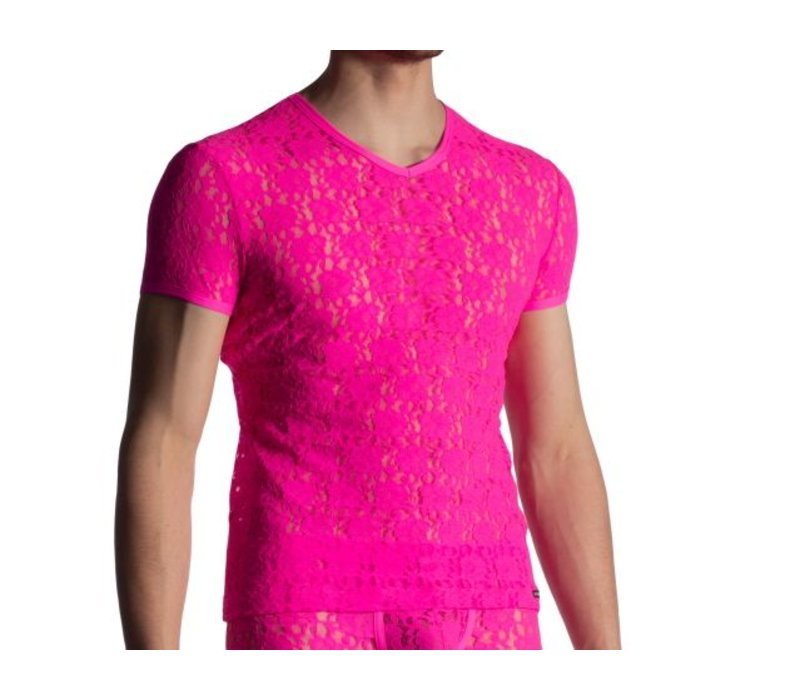 Shirt met V-hals in kant <hotpink>