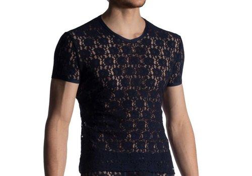 Manstore Shirt met V-hals in kant <night blue> - Manstore M853