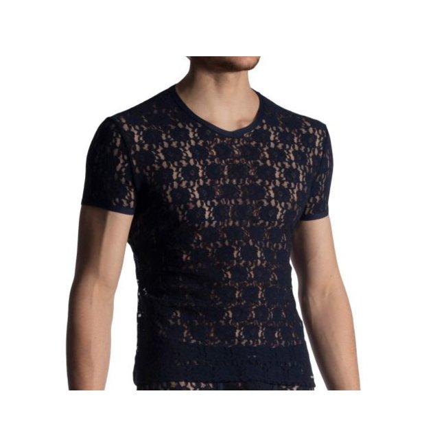 Shirt met V-hals in kant <night blue>