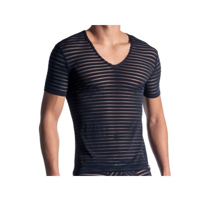 Manstore Shirt met diepe V-hals <night blue> ·M864·